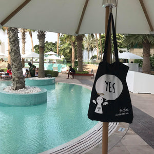 #Bagsy Location: Dubai pool  | The Bold Yes / No re-usable tote bag | gym bag | beach bag | shopping bag | Free with every Hoodie | #sayitinbold  @BoldorNaked  shop online www.boldornaked.com