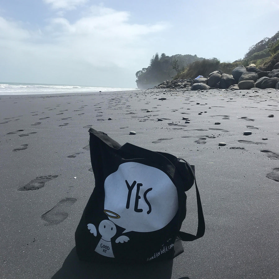 #Bagsy Location: Wai-iti Beach NZ |  The Bold Yes / No re-usable tote bag | gym bag | beach bag | shopping bag | Free with every Hoodie | #sayitinbold @BoldorNaked shop online www.boldornaked.com
