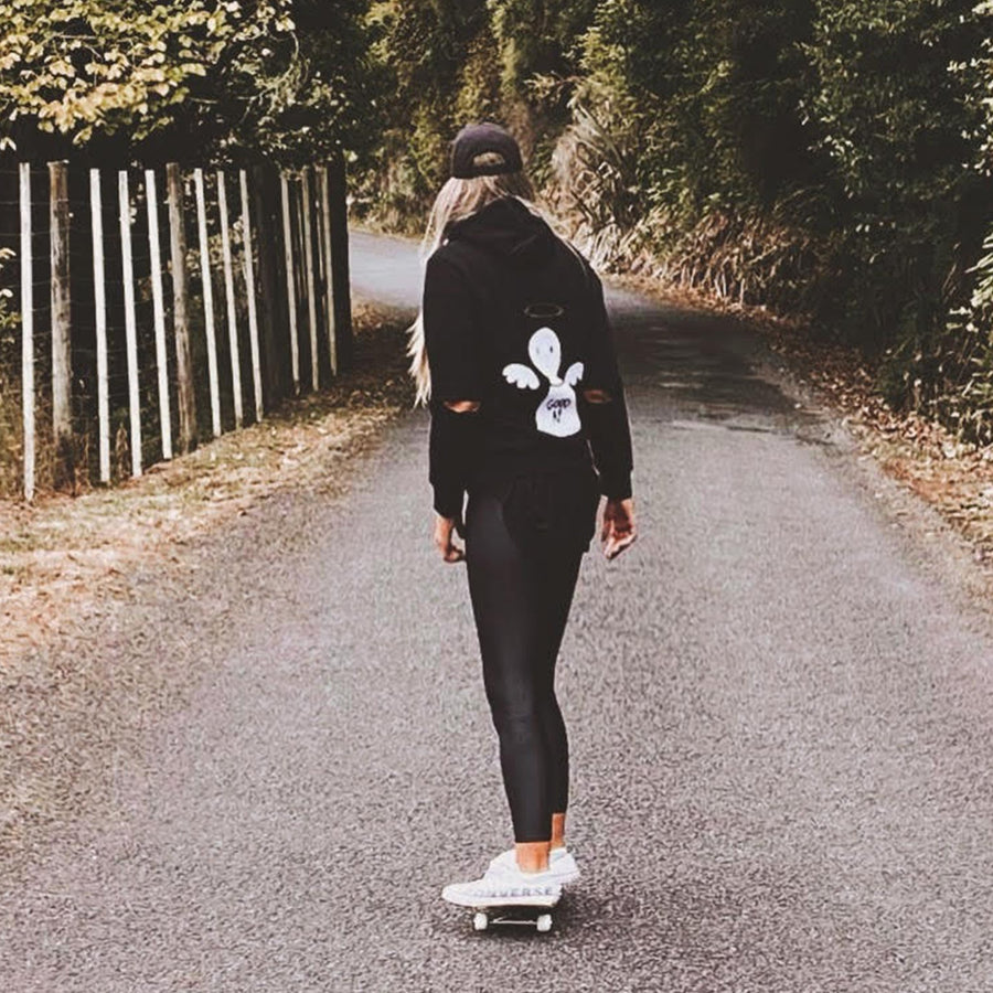 Kate skateboards in NZ wearing Bold's Angel / Devil - Good AF / Bad AF Sequin Hoodie -  Bold Clothing & Headwear - #sayitinbold | Bold Clothing | www.boldornaked.com