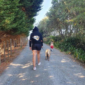Ngahuia walks the dog in our Gold Lips Sequin hoodie in Whangarei #sayitinbold @boldornaked.com
