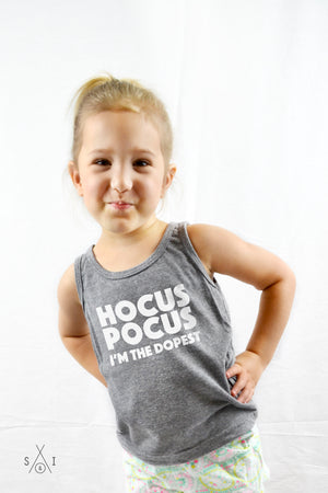 hocus pocus i'm the dopest grayscale kids tank
