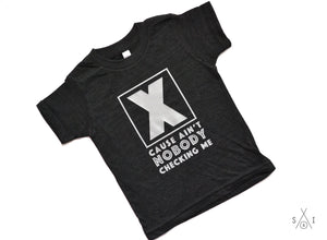 X in the box 'cause ain't nobody checking me GRAY kid tee