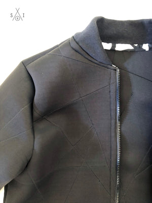 woman's geometric black neoprene bomber jacket