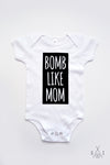 B0MB like mom monochrome baby one pieces: block letters
