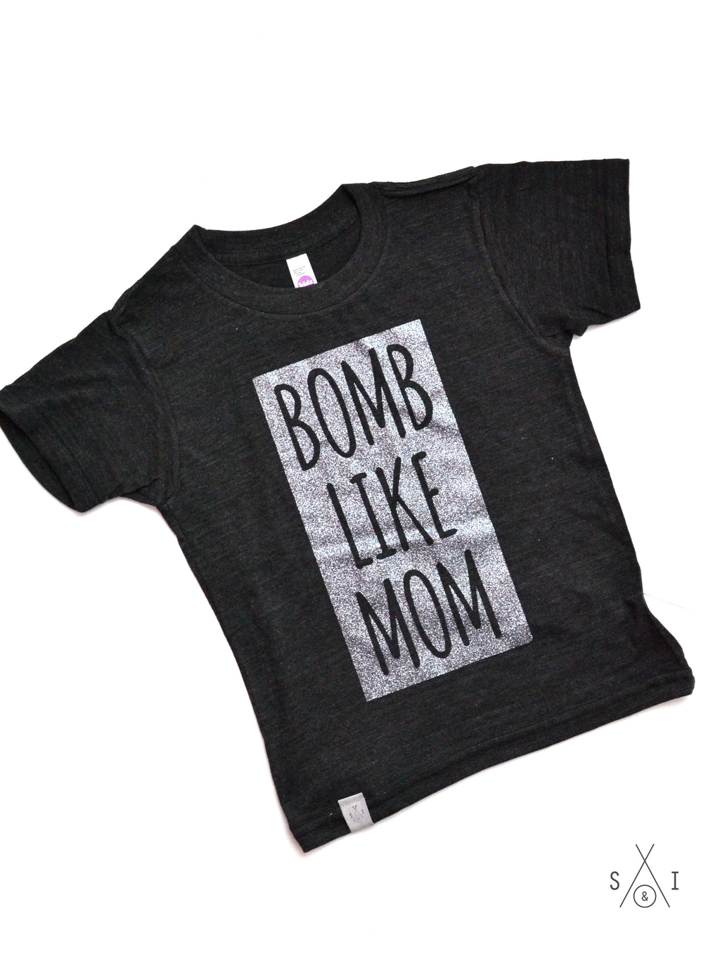 b0mb like mom  kids tee: block letters