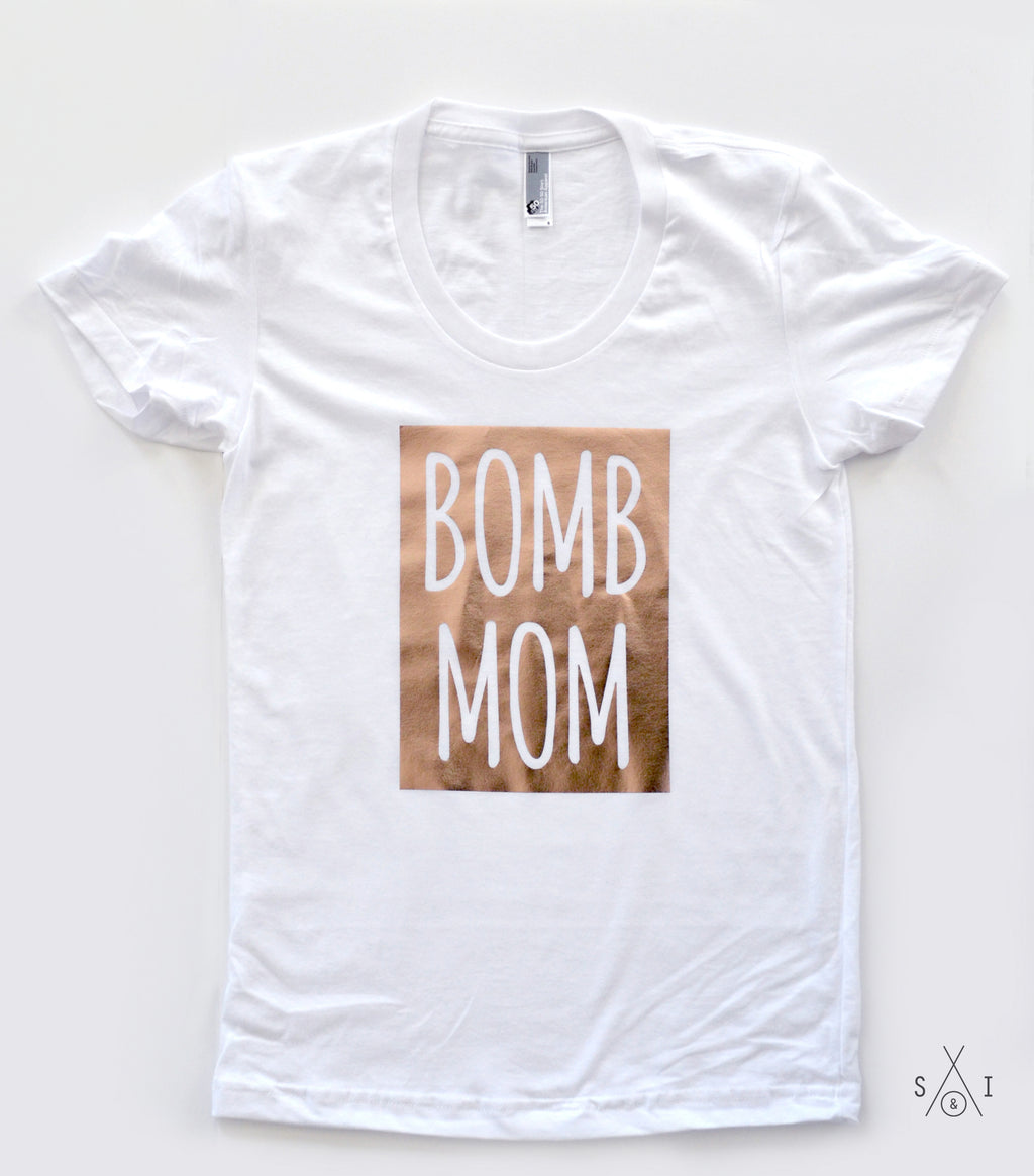 b0mb mom ROSE GOLD foil tee