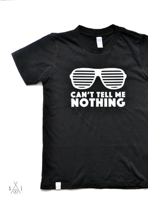 can't tell me nothing kids grayscale tees