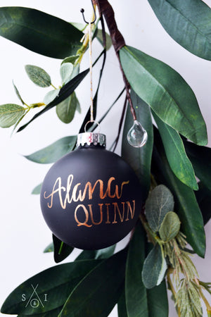 baby's first christmas black glass custom ornament
