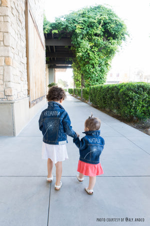 dandelion seeds CUSTOM denim jacket: girls