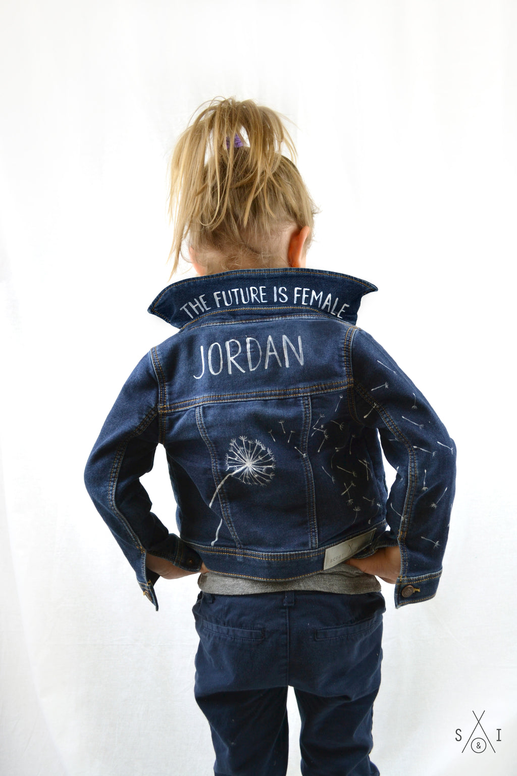 toddler girls CUSTOM denim jacket: dandelion seeds