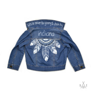 feathers CUSTOM denim jacket: girls