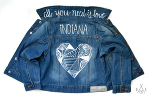 geometric heart CUSTOM denim jacket: girls