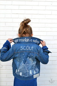 geometric mountains CUSTOM denim jacket: unisex