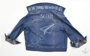 paper airplanes CUSTOM denim jacket: unisex