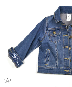 toddler unisex CUSTOM denim jacket: paper airplanes