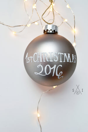 baby's first christmas pewter glass custom ornament