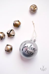baby's first christmas silver glass custom ornament