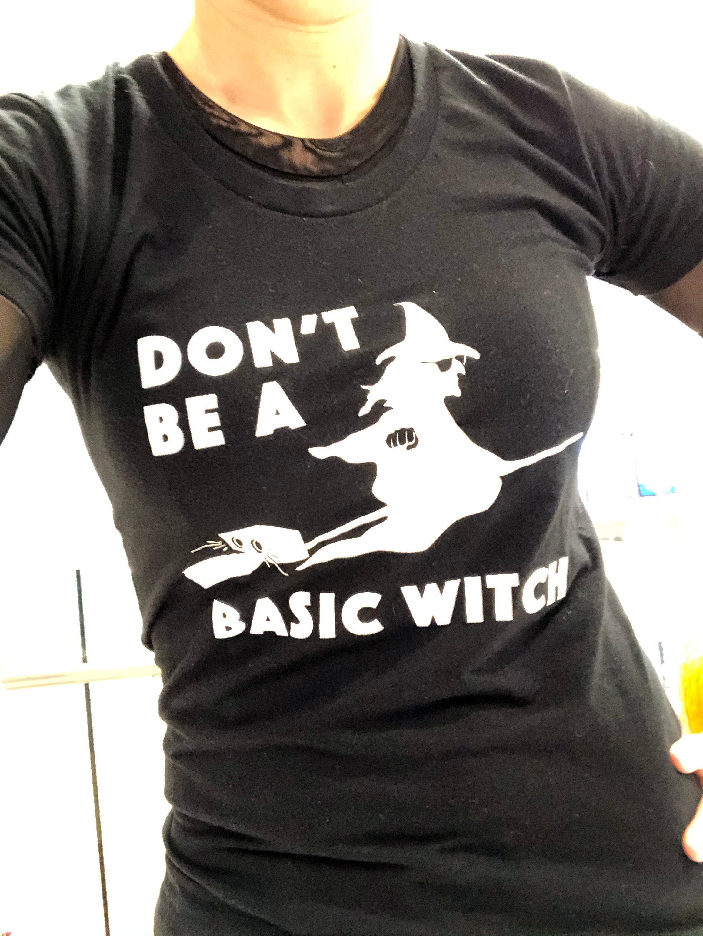 don't be a basic witch B&W women's halloween tee
