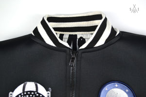 kids bomber jacket with patches: black neoprene