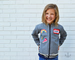 grey wool kids bomber jacket with patches: unisex