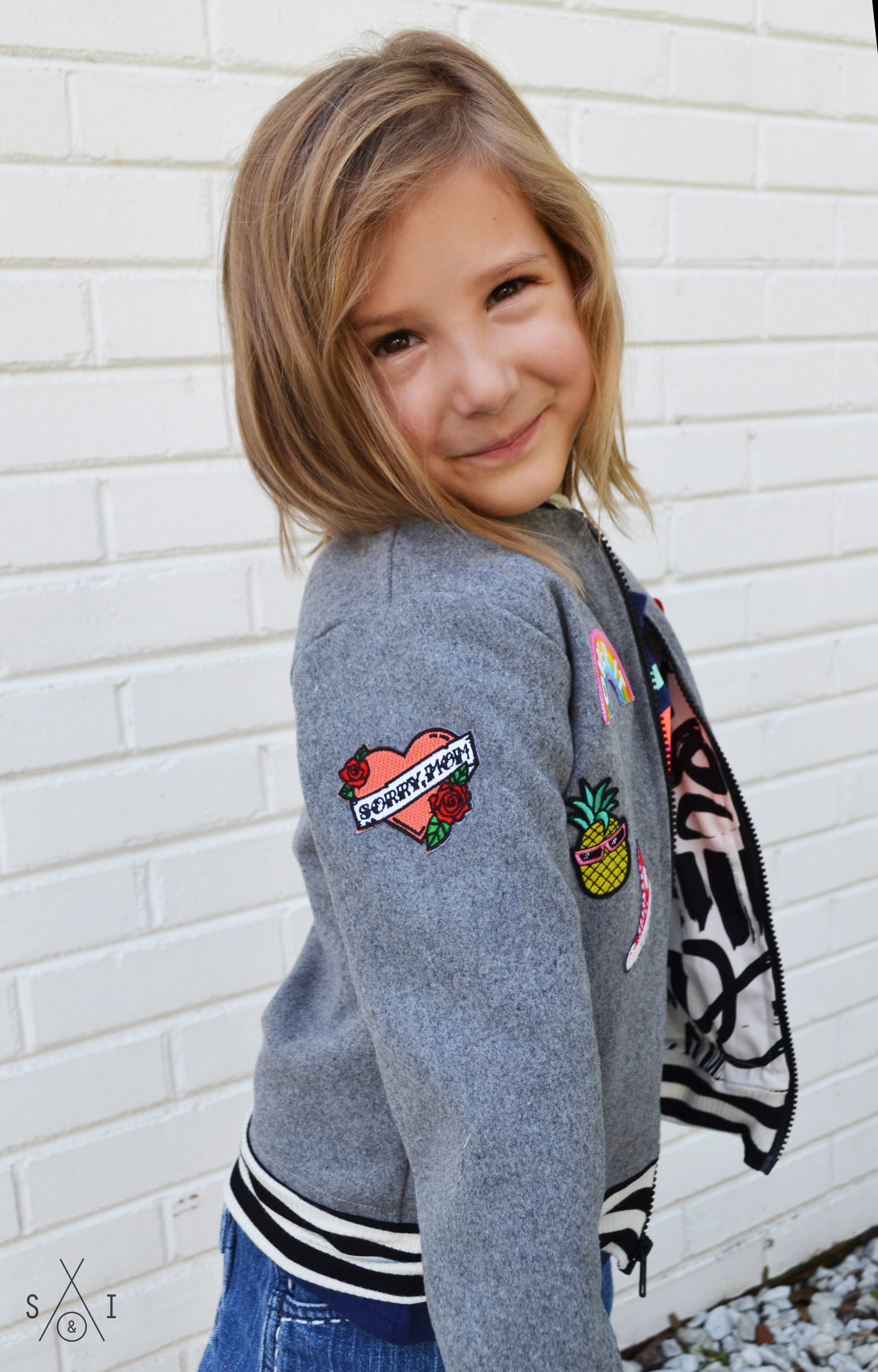 kids bomber jacket with patches: grey wool