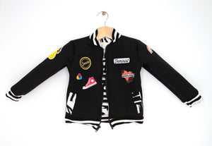 black neoprene kids bomber jacket with patches: unisex