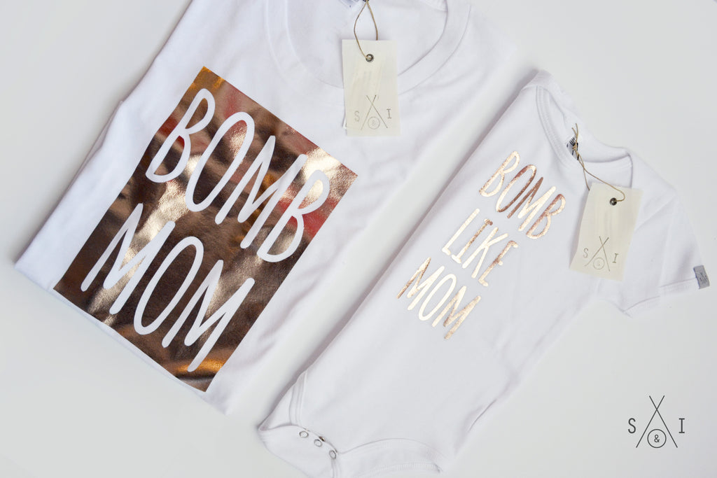 me and my mini: b0mb like mom ROSE GOLD (tee/baby one piece bundle)