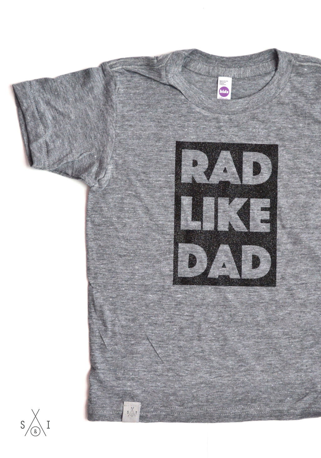rad like dad kids tee: block letters