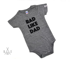 rad like dad GRAY baby one piece: regular letters