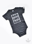 rad like dad GRAY baby one piece: block letters