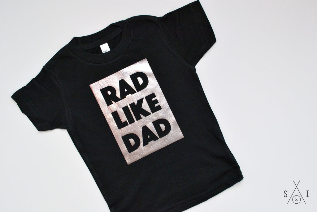 rad like dad PEWTER FOIL kids tee: block letters