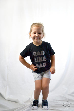 rad like dad PEWTER FOIL kids tee: regular letters