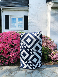 Triangle Jitters half square triangles baby quilt: navy blue & waves