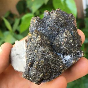 Huge 183g Partly Iridescent Sphalerite Crystal with Chalcopyrite & Druzy Quartz -Picher Field, Baxter Springs, Kansas, USA - Item:SPH16011
