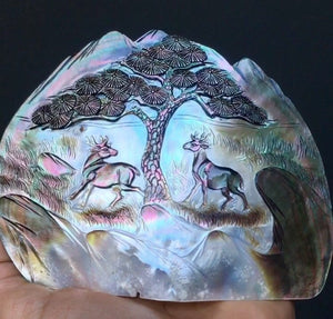 "Rare 5"" Abalone Carving 57g Hand Carved Iridescent Abalone Mother of Pearl Shell Centerpiece - Australia - Self Standing - Item:PL16001"