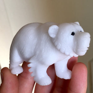 Top Quality 166g Hand Carved Pure White Marble Polar Bear Decorator Carving - Italy - Self Standing - Item:MB16001