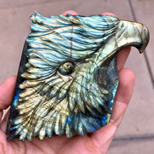 Rare 233g Hand Carved Yellow Labradorite Eagle Head Crystal Bird Spirit Totem Carving - Madagascar - Item:L170533