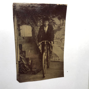 Confident Gentleman on a Bicycle - Original Vintage Tintype Photograph - Circa Mid to Late 1800s - Item:TT18390