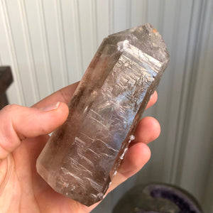 "Top Quality 302g 4.6"" Polished Smoky Quartz Crystal Obelisk Centerpiece - Brazil - Self Standing - Item:Q19049"