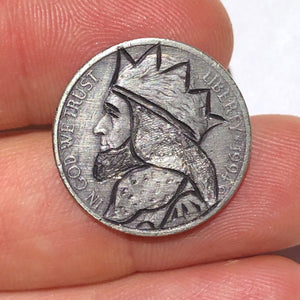 "Rare 1994 D Real Hand Carved King Jefferson ""Hobo Nickel"" Coin Art Engraving - Item:HN19072"