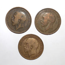 3pc Lot Great Britain Penny Coin Set - 1916, 1919, 1920 Great Britain - King George V English British Bronze Cent Coin Lot - Item:CC20040