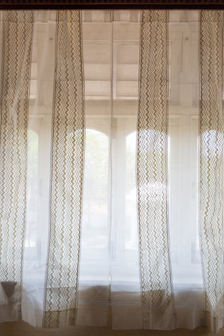 Sheer Printed Voile | Cream Chevron | Kota | Ladder Lace