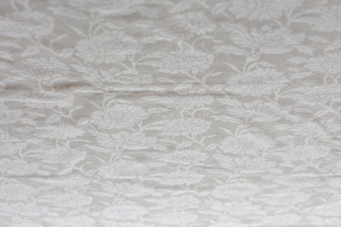 Self Striped Chanderi | White On White | Printed Borders