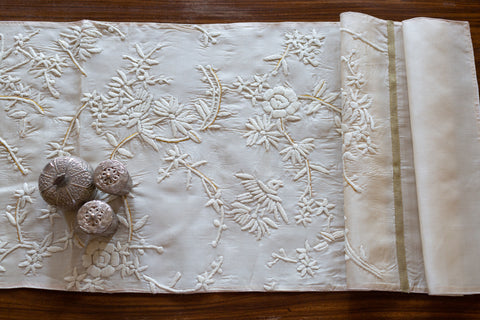 Hand Embroidered Silk (Cream) | Chinese Cream