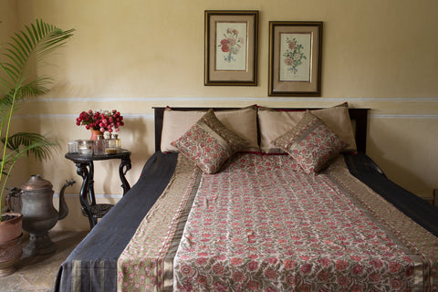 Maheshwari Jaipur Print (Red) | William Morris | Beige Border