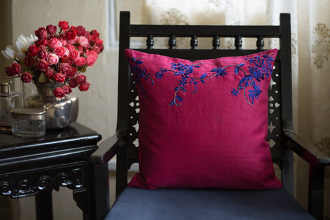 Hand Embroidered Silk (Fuchsia) | Chinese Floral Panel