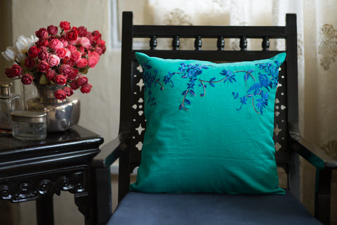 Hand Embroidered Silk (Turquoise) | Chinese Floral Panel