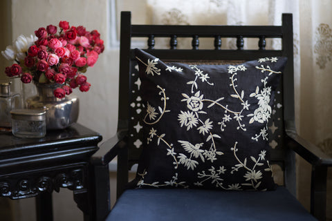 Hand Embroidered Silk (Black) | Chinese Floral (Cream)