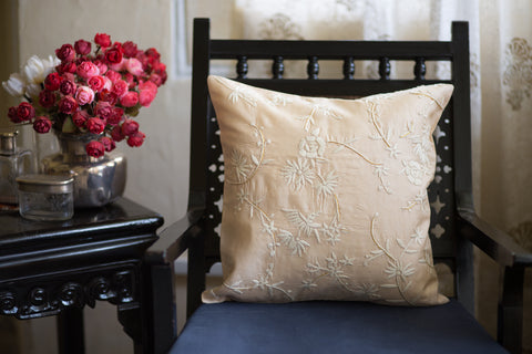 Hand Embroidered Silk (Light Beige) | Chinese Floral Cream