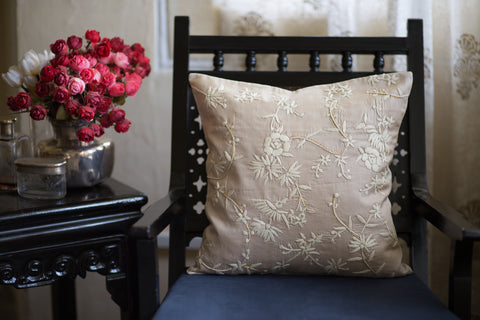 Hand Embroidered Silk (Tussar Beige) | Chinese Floral Cream